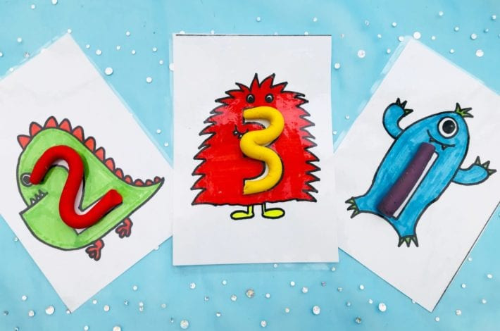 Teach first counting with this awesome monster moulding numbers game for toddlers