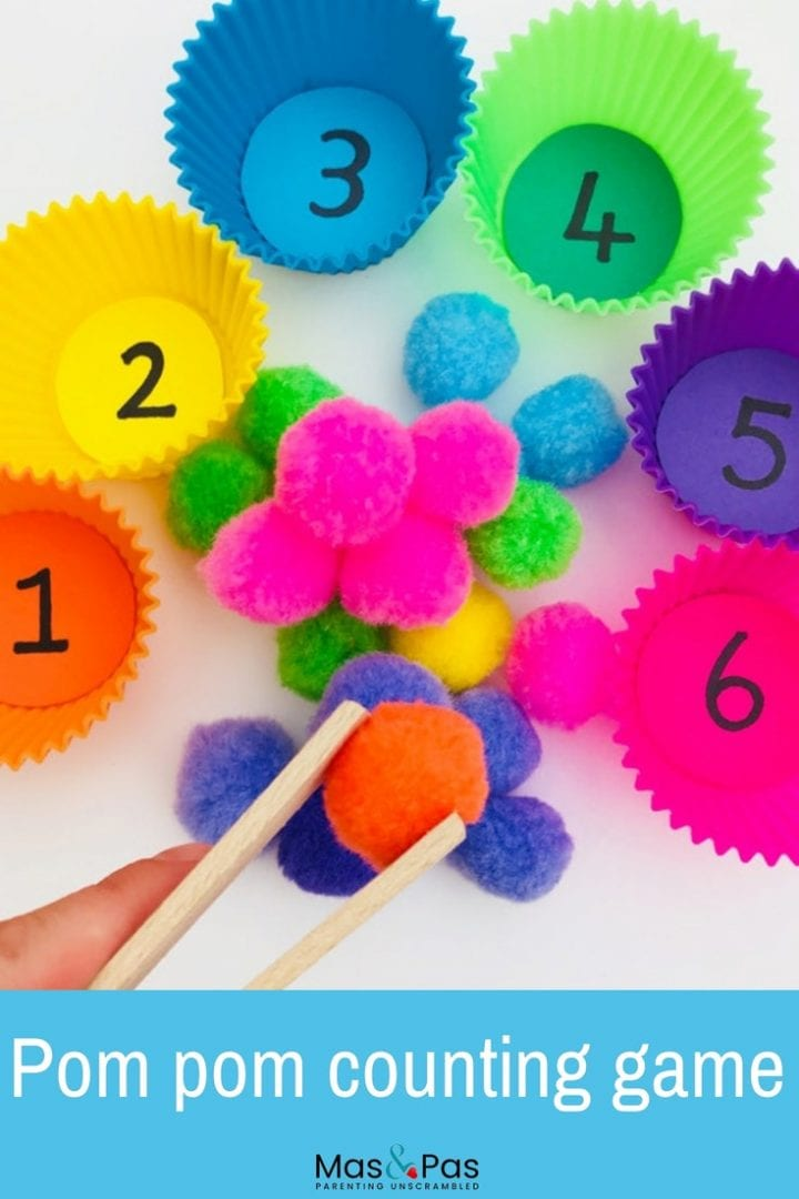Pom pom learning games - teach your little one to count out numbers and to match colours with this fun toddler learning activity