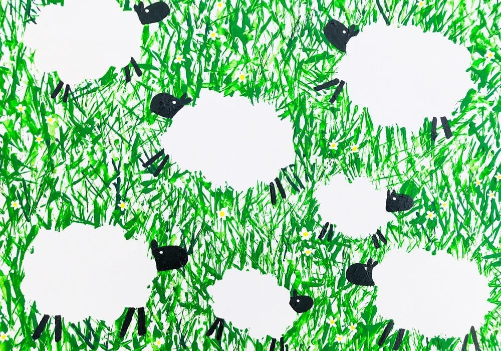 Dancing sheep craft for toddlers - give this spring craft for kids a go and paint these leaping lambs in a grassy meadow