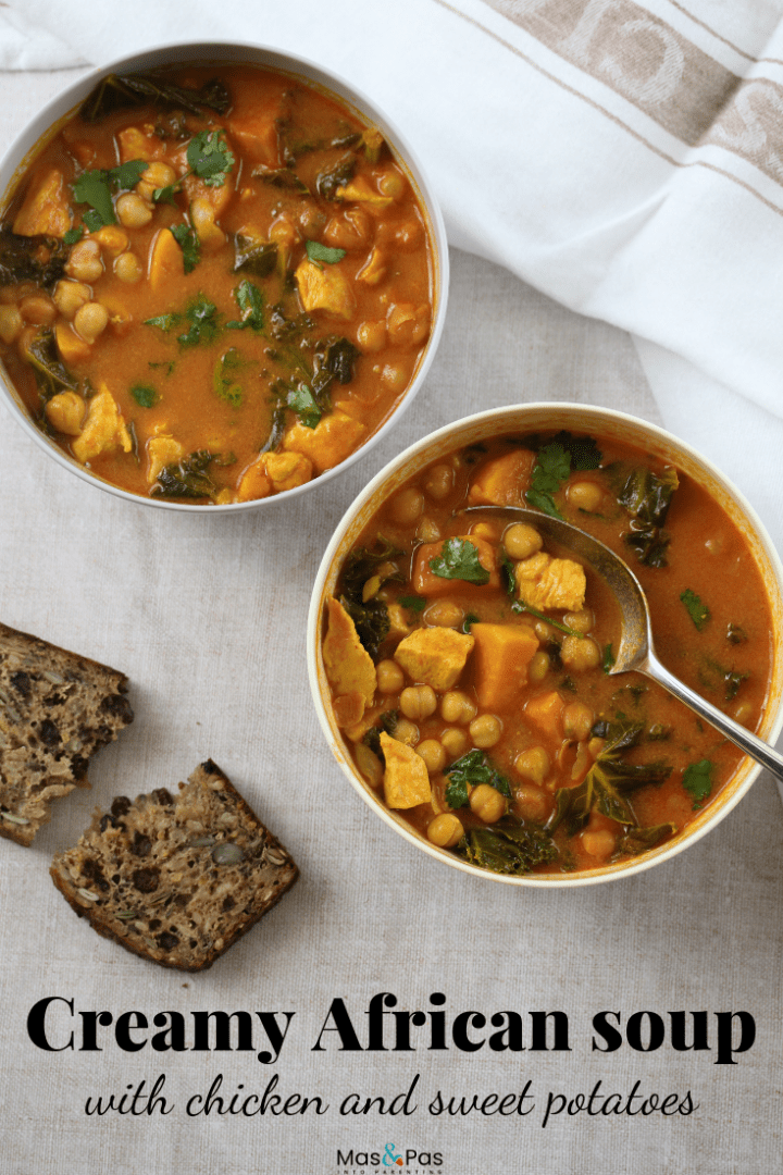 West African stew with chicken sweet potato and chick peas - quick and easy African chicken soup to make for family dinners