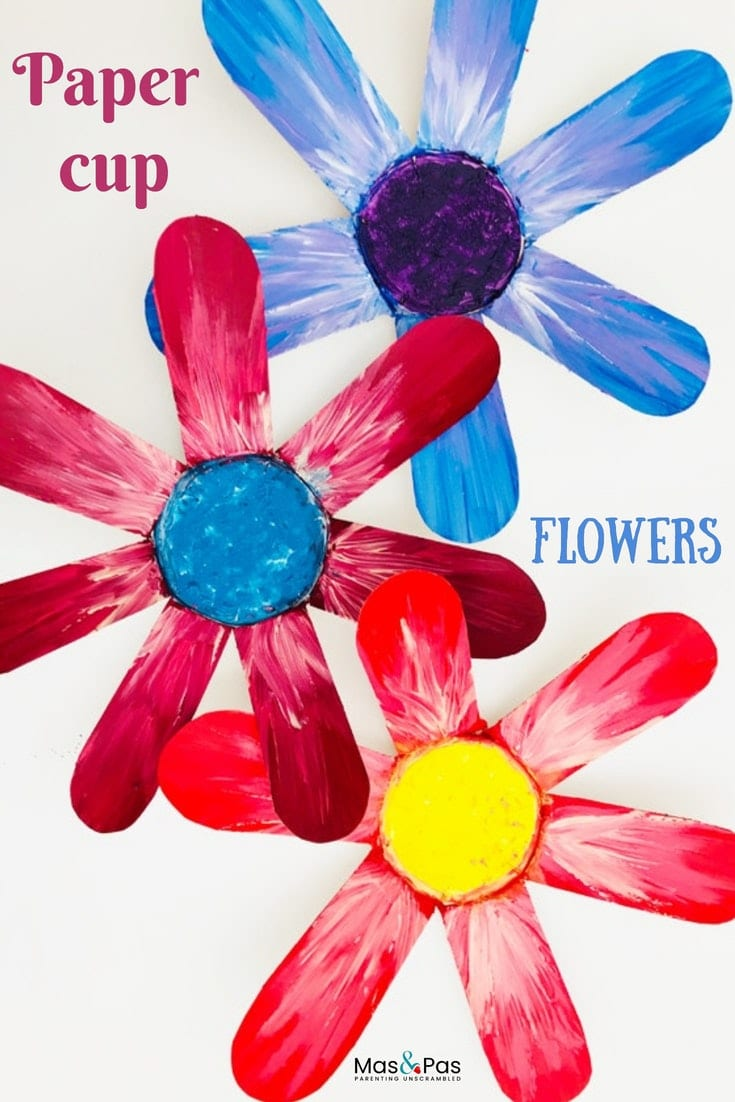 Pretty painted paper cup flowers - a gorgeous spring craft for kids