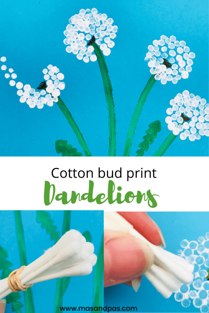 Cotton bud dandelion craft - a fun kids crafts with cotton swab prints