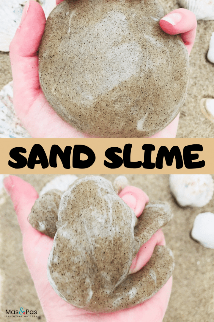 Summer sand slime - make this sand slime recipe using just 4 ingredients. A great summer craft for kids