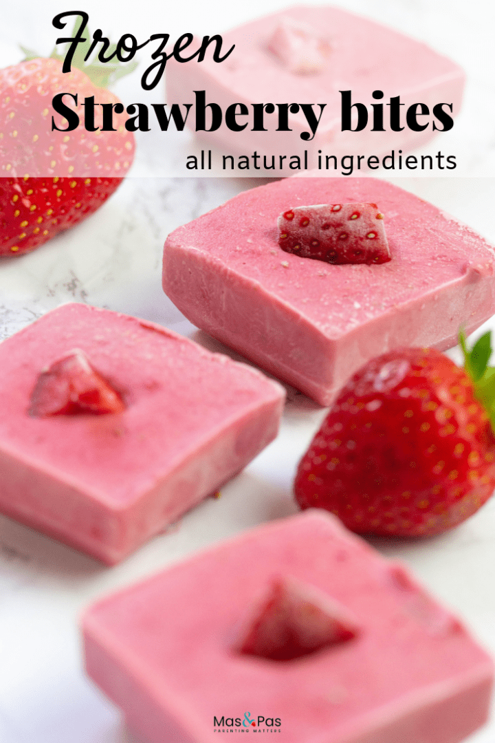 Frozen fruit chew bites made with fresh strawberries and peanut butter and frozen into bars for kids snacks