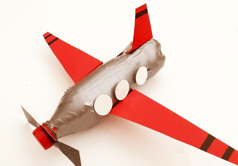Enjoy making this simple plastic bottle airplane craft for kids - they'll love recycling plastic bottles into fun airplanes