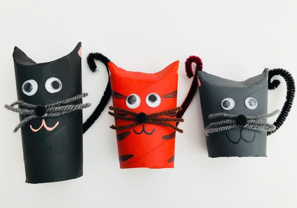 Toilet roll cats - make diy cats out of paper rolls or toilet rolls - a great kids craft