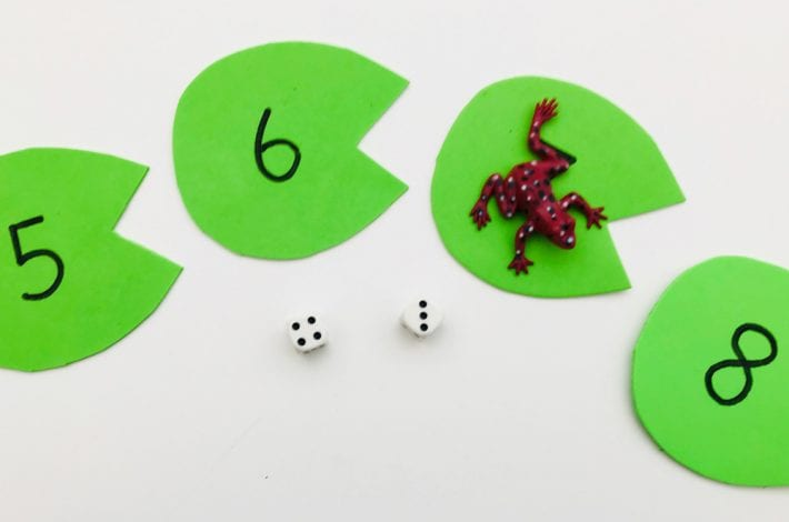 Play this leaping frogs number bonds game to learn those first additions. Practice number bonds to 10 in a fun game.