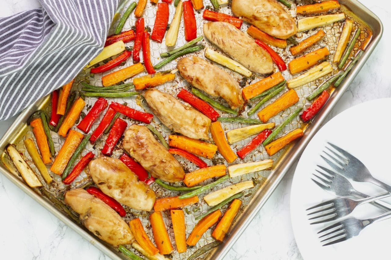 Honey balsamic sheet pan chicken - a great family dinner recipe with mini chicken fillets in balsamic glaze