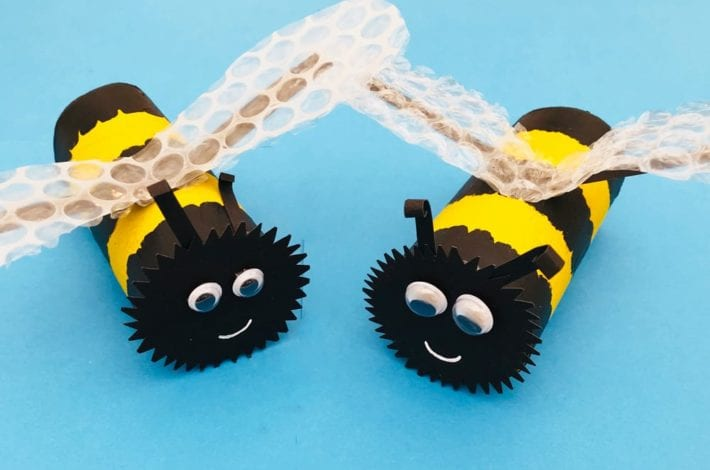Paper roll buzzy bee craft - make your own paper bumblebees with the kids