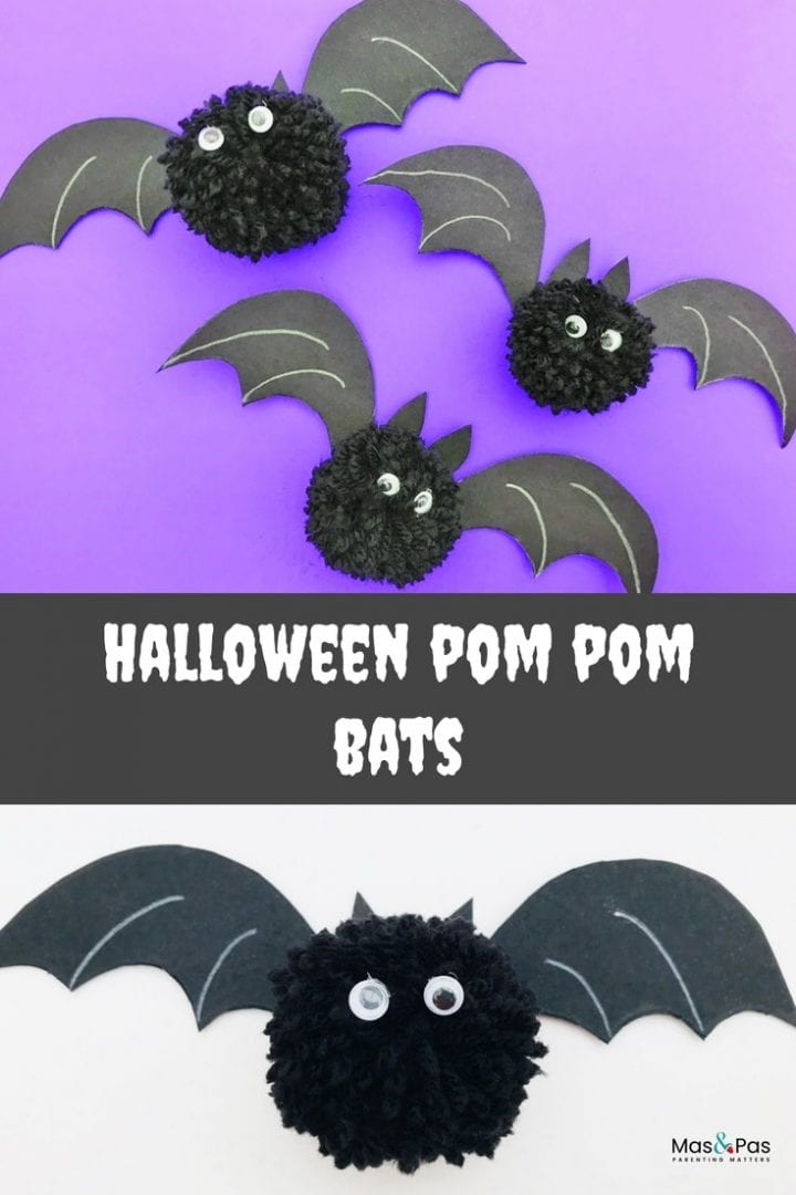 Make these awesome Halloween pom pom bats this October - a great craft for little kids that also make spooky homemade Halloween decorations