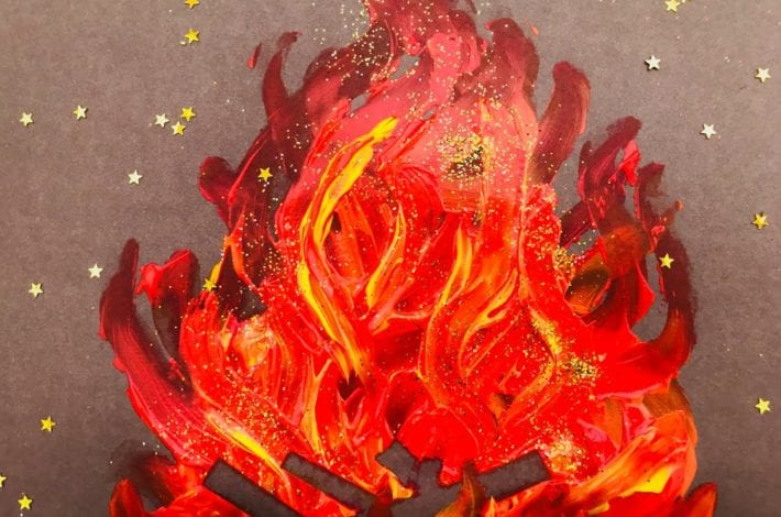 Have fun finger painting with this easy bonfire night craft. Get printing with fingers and paints to make this beautiful kids painting
