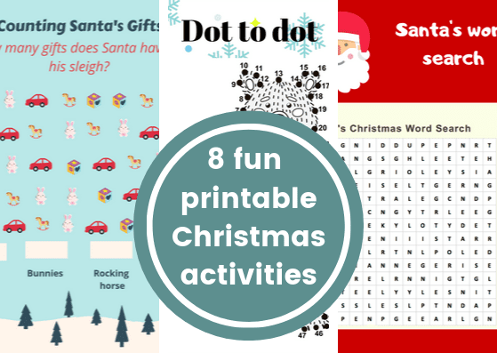 8 awesome free printable Christmas activities - print out these Christmas worksheets for kids to have fun this festive season