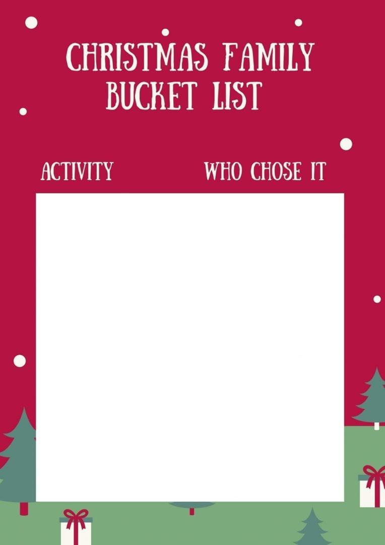 Family Christmas activities - family Christmas bucket list