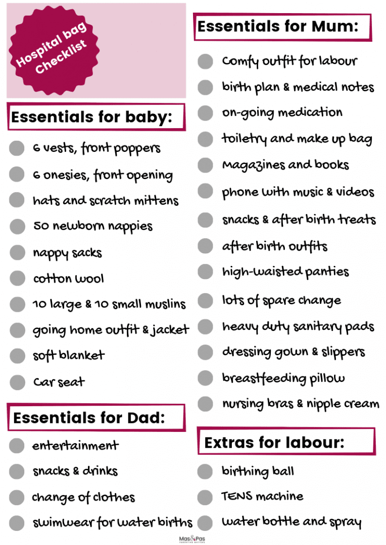Hospital bag checklist printable - see our full list of items to pack when you go to hospital for labour