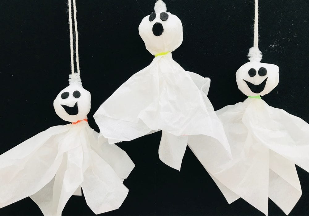 Make this spooky hanging tissue ghost this Halloween with the kids. Or make a whole series to hang up as Halloween bunting!
