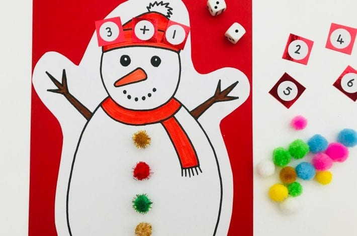 Make counting fun for kids with this snowman numbers game - learn first numbers count them out and do first additions too