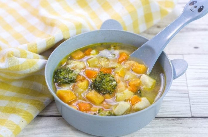 Hearty chicken soup for babies. Make this simple and nutritious soup recipe for baby when weaning and the whole family can enjoy it too