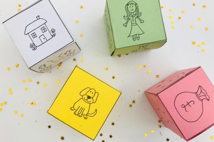 free printable downloads to make your own story cubes to insure your children imagination