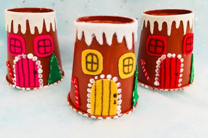 Try making this paper cup gingerbread house craft this year in the holidays - a great Christmas craft for kids