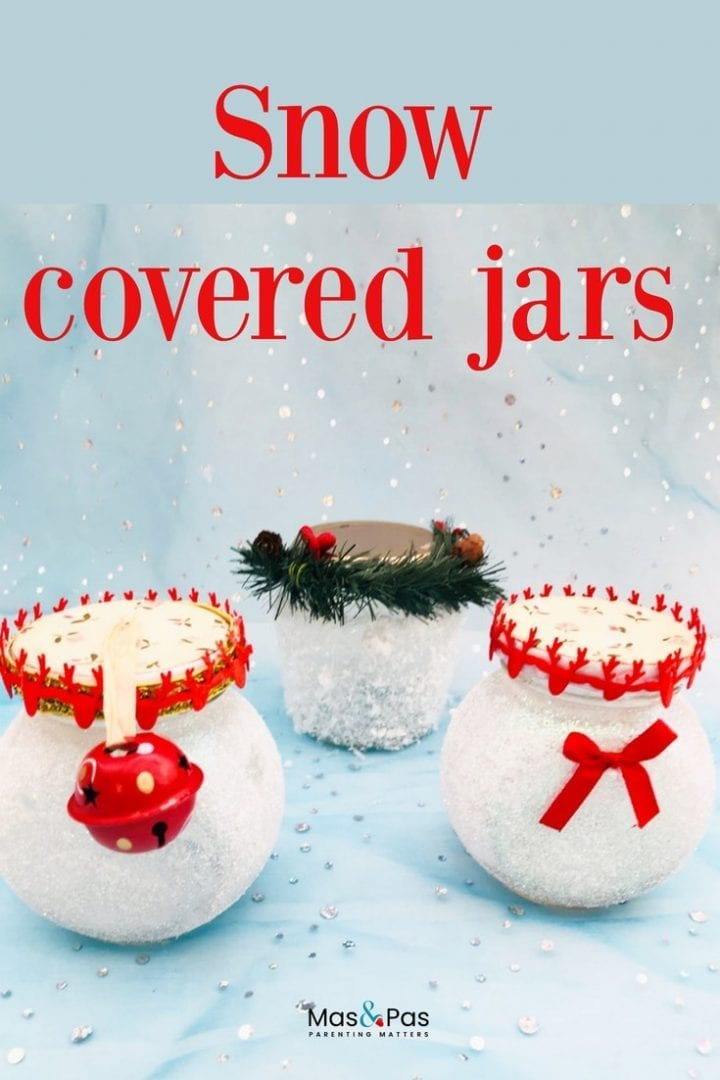 Make these beautiful snowy mason jars this Christmas. Use them as twinkling decorations with a tee light inside or fill with truffles to give as a gift.