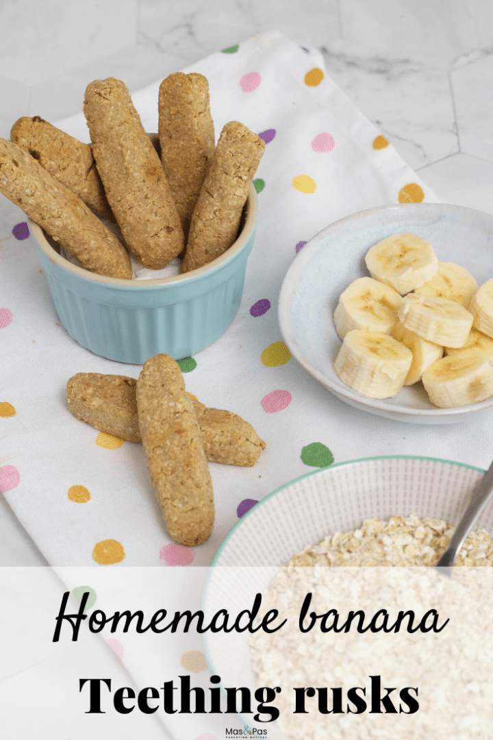 Banana teething rusks - tasty cookies for babies and toddlers with natural ingredients