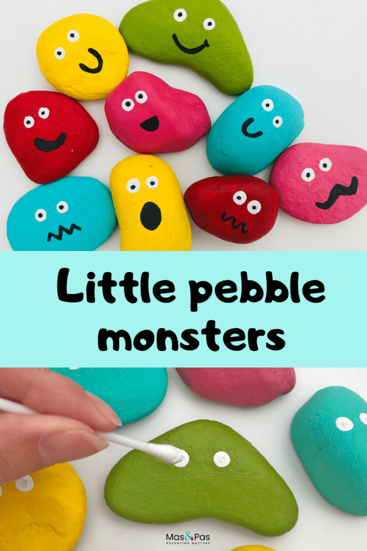 Pebble monsters - a fun pebble craft that kids can have fun with - enjoy this fun kids craft and explore the different expressions and emotions that you paint onto your pebble monsters with your child