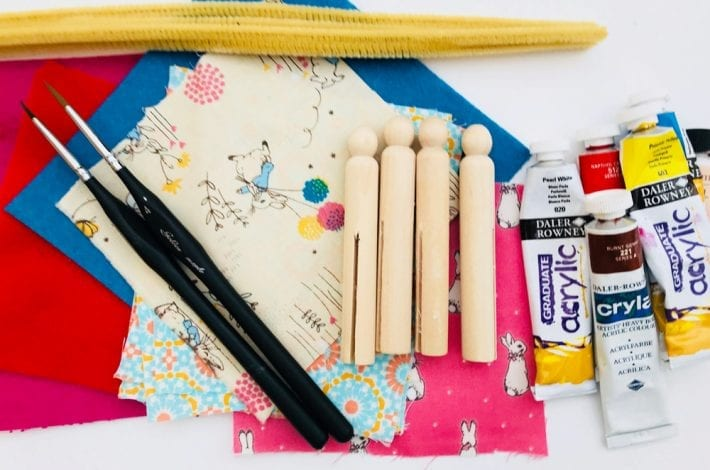 Dolly peg craft for kids to enjoy - make these diy dolly peg lolls and have fun making them dance with flowing skirts