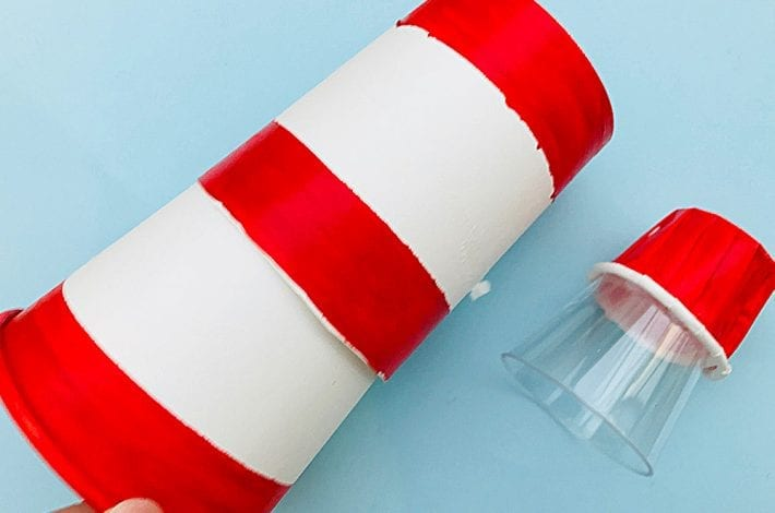 Paper cup lighthouse craft - make these DIY light up lighthouses - a simple kids craft that can give them fun with imaginary play