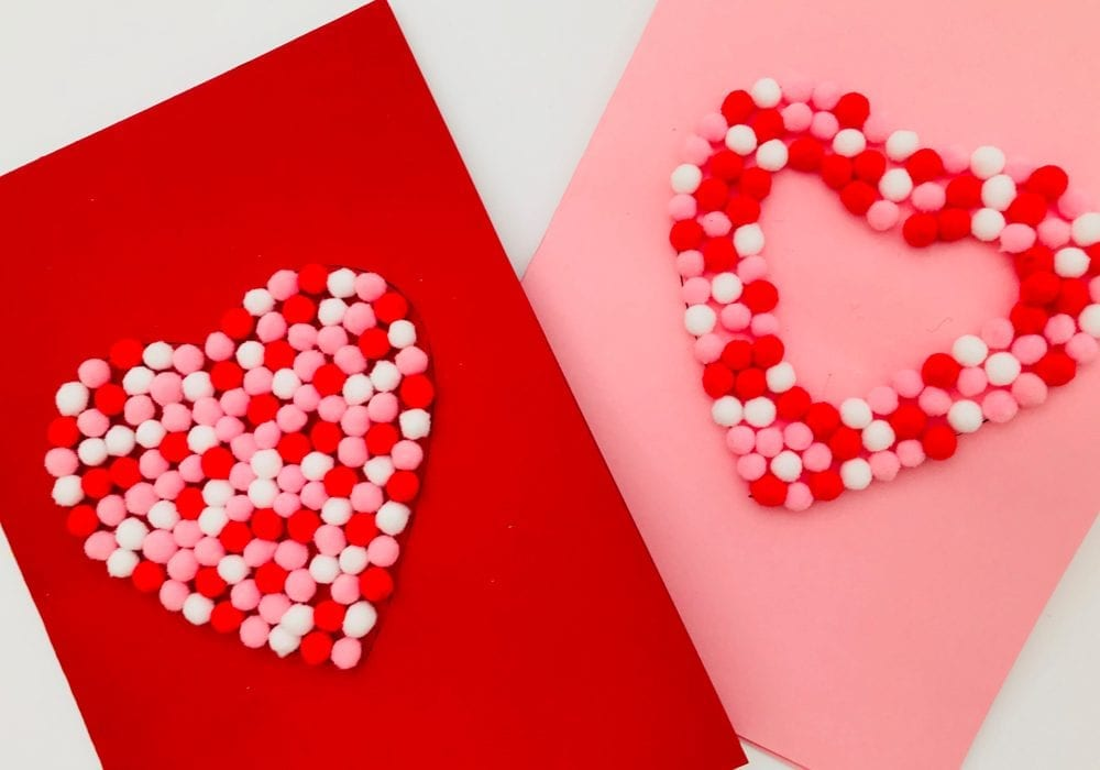 How to make these 3D Valentines day pom pom cards - a quick and easy Valentines craft that even toddlers and young kids can enjoy