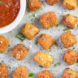 Chicken Parmesan bites - cheesy chicken pieces stuffed with mozzarella and cooked in marinara sauce - great for family dinners and kids meals