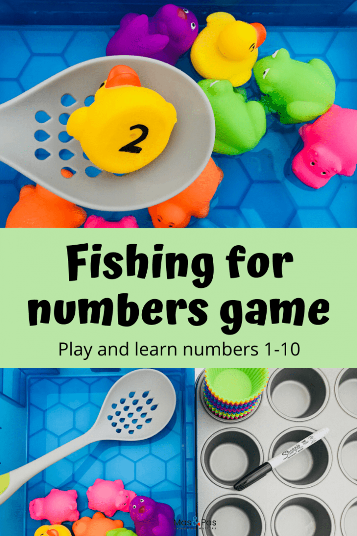Fishing for numbers game - teach your toddler how to count to 10. A great playtime learning activity for preschoolers
