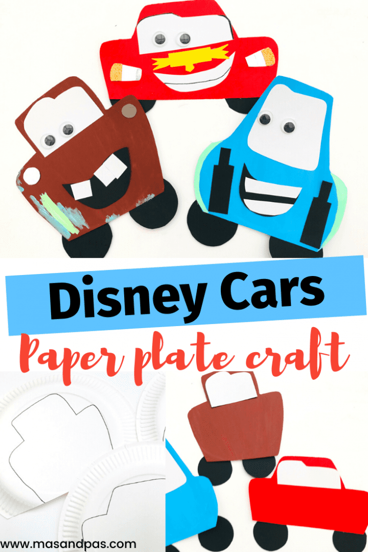 Lightning McQueen craft with paper plates - make this fun and easy paper plate craft with the kids of all the Disney Pixar Cars movie