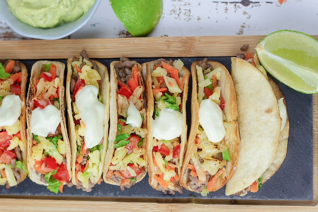 Mini beef tacos - a tasty and easy family dinner to prepare where kids can pick and choose their toppings - great for picky eaters