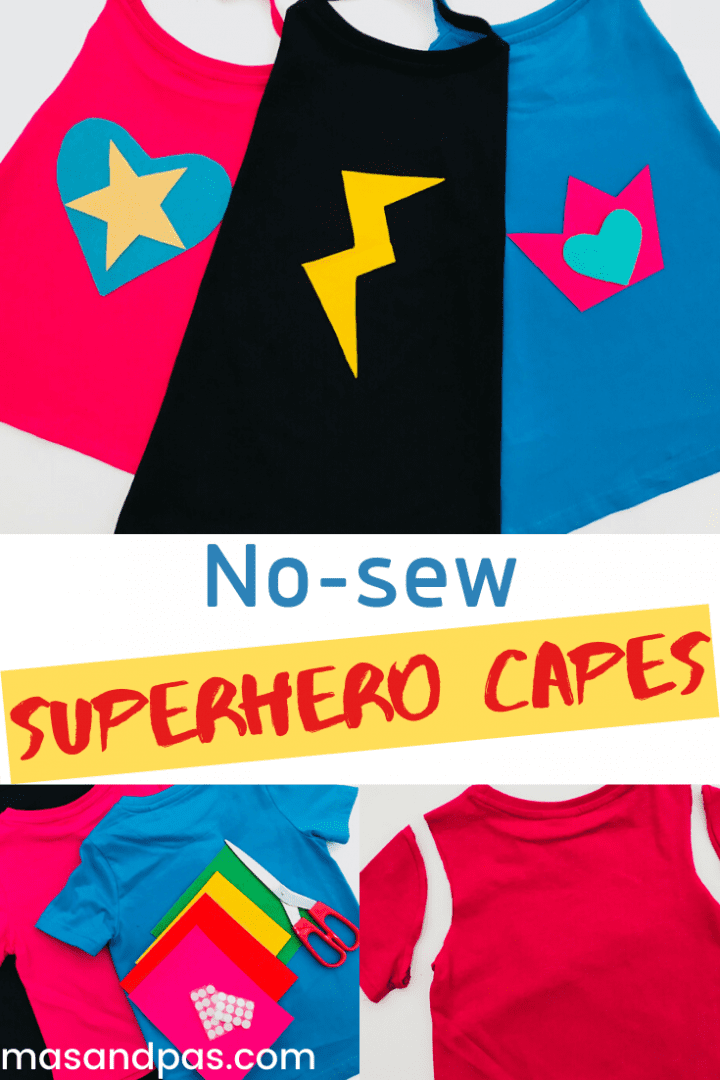 These no-sew superhero capes are genius. Make them as a fun kids craft at home for dressing up or school costumes. A great superhero t-shirt cape to