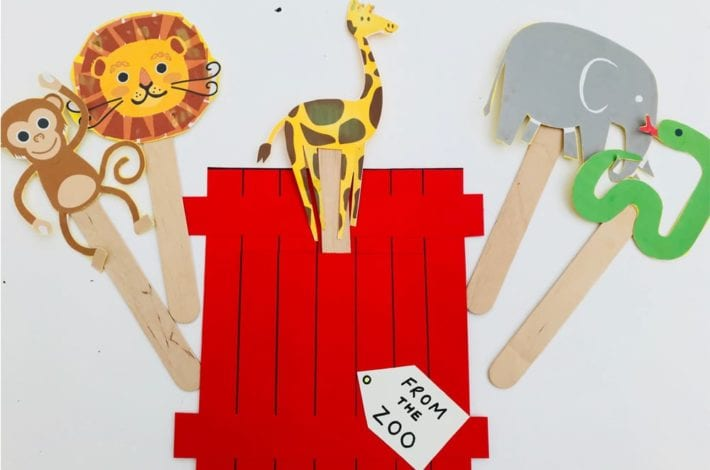 Dear zoo craft - make pop up animal puppets to learn about different animals