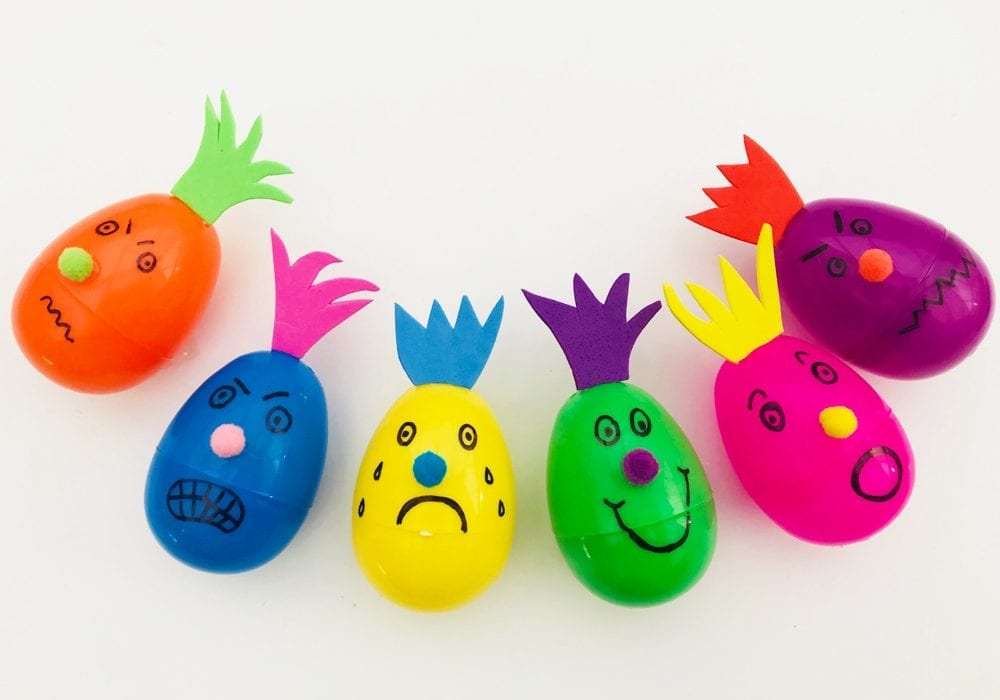 Emotional eggs monster characters - give plastic eggs different expressions and emotions with this learning emotions activity for preschoolers