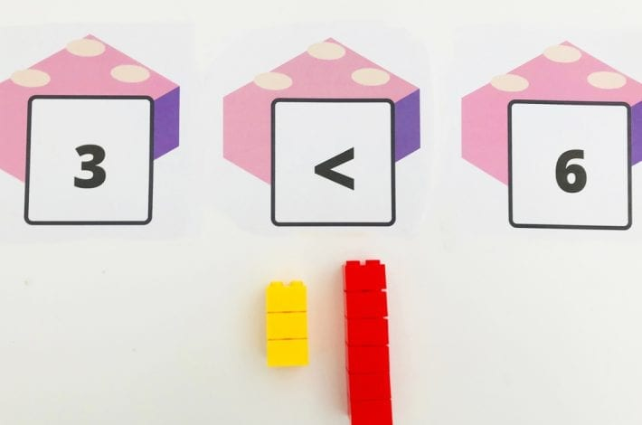 Comparing and ordering numbers with lego brick fun maths activity - learn the greater and lesser than signs and count out numbers