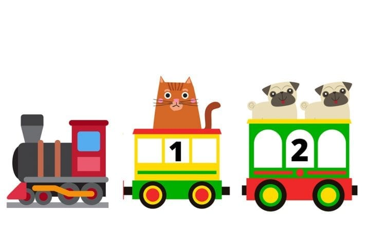 Animal number train - count to 10 and learn how to put numbers in order - train learning activity for preschoolers
