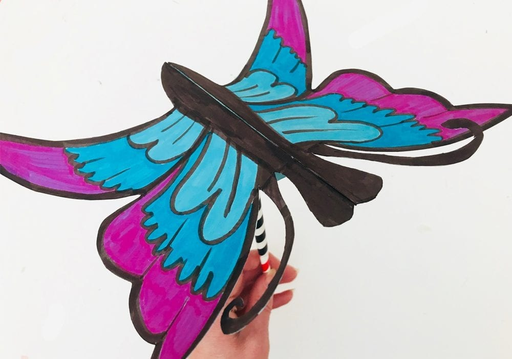 Flapping butterfly craft - similar to an origami flapping butterfly, make a butterfly craft where the wings move up and down as a fun kids craft