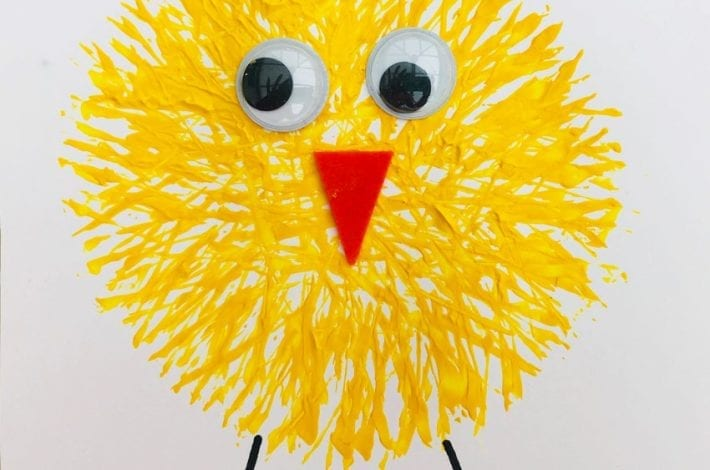 Fork painting - enjoy these funky fork print Easter chicks as a great Easter craft for kids rev 1