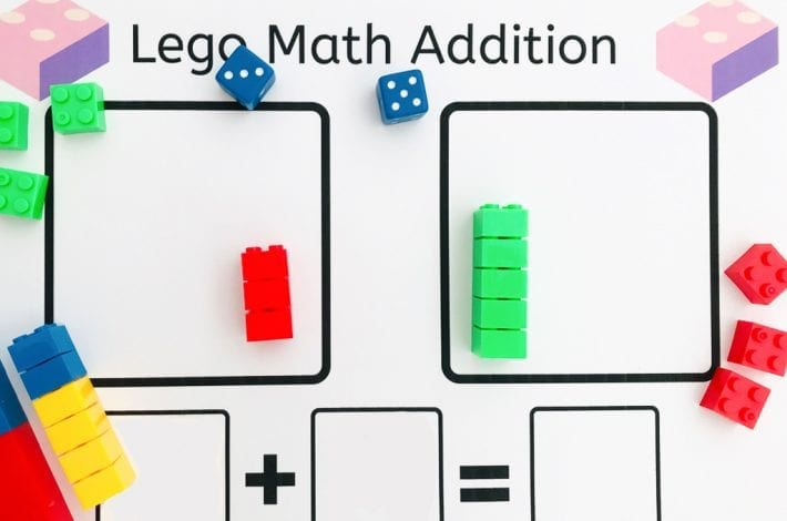 Lego brick math - enjoy this lego math addition activity to learn those first number bonds with lego bricks