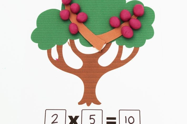 Multiplication activity with playdough and playdough fruits