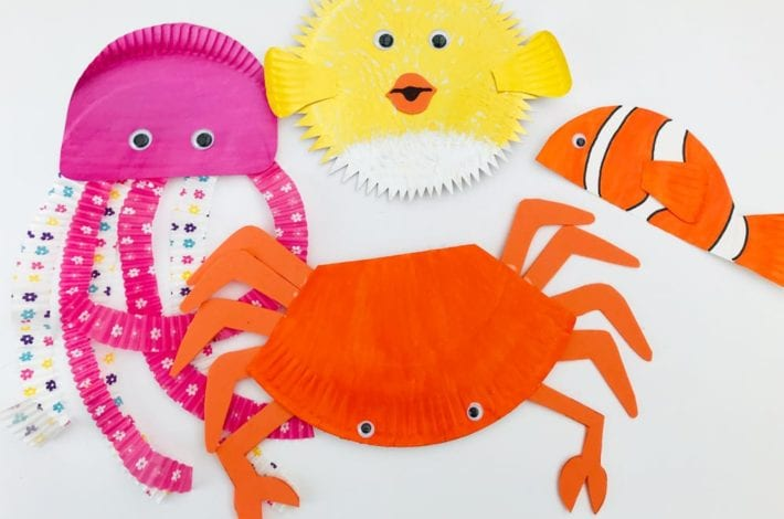 Paper plate ocean animals - make sea creatures out of paper plates - fun kids craft