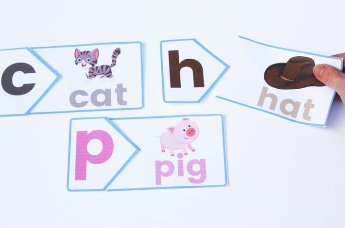 First letters phonics puzzle with free printables - learn first letter sounds and phonics and blend words