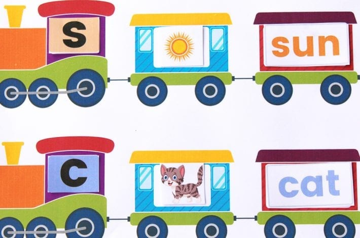 Sound out words with this phonics train letter activity for early years
