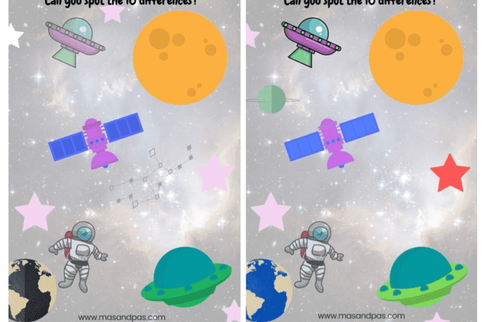 Space activity pack - activity booklet for preschoolers - spot the difference
