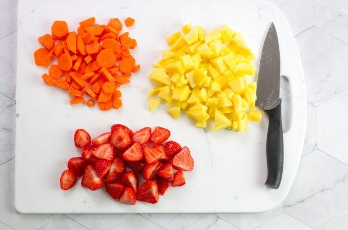 Vitamin C Packed Mango Puree for baby - carrot strawberries and mango puree - baby weaning recipes