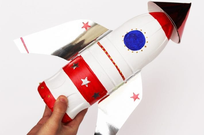 Plastic bottle spaceship craft - make a rocket out of recycled bottles with this fun kids craft