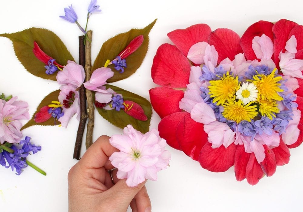 Flower petal art for kids - nature crafts for kids - flower paintings