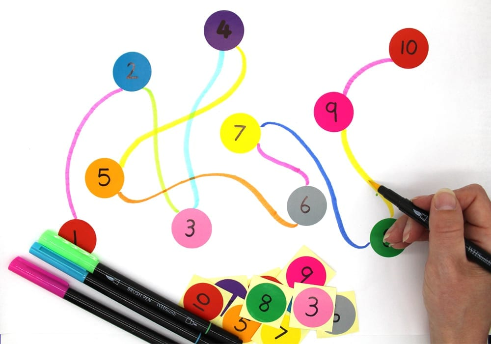 Practice Ordering Numbers with Number Dots - a playtime learning activity to help young kids recognise numbers and put numbers in order